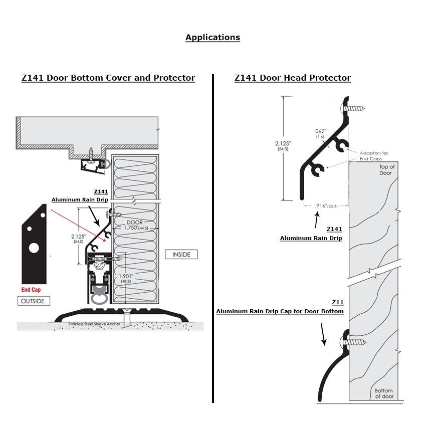 Zero 141aa Aluminum Rain Drip Protector For Door Head And