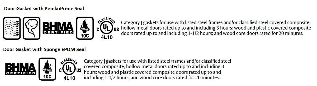 Compliance Details for Door Gasket with PemkoPrene and Sponge EPDM Seal