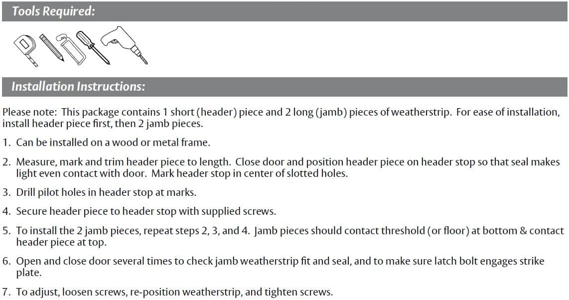 Installation Guide for Pemko Door Gasket with Eco-V Bulb Seal