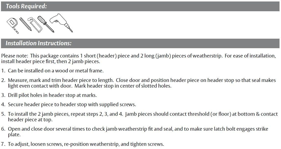 Installation Guide for Surface Mounted Door Gasket with Eco-V Seal