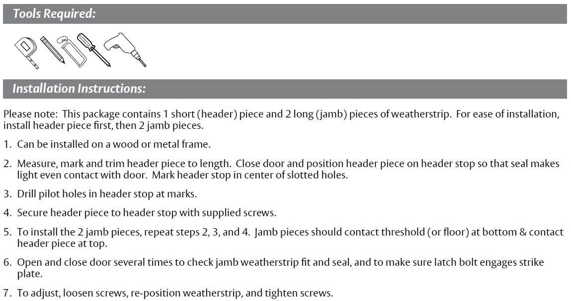 Installation Guide for Door Gasket with Sponge Rubber Seal