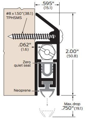 product specs for zero international 321 automatic door bottom