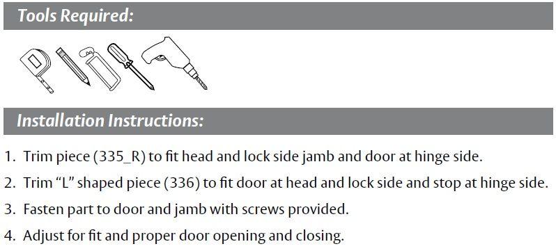 Installation Guide for Interlocking Door Gasket P335 and P336
