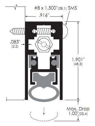Surface Mounted, Heavy Duty Automatic Door Bottom with Solid Neoprene Bulb Seal
