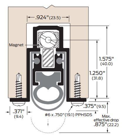 Product Specs of Zero International Mortised Automatic Door Bottom with Double Neoprene Seal for Soundproofing Doors - #369