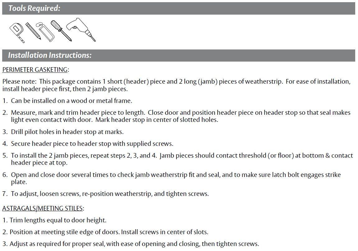 Installation Guide for Door Gasket with Sponge EPDM Seal