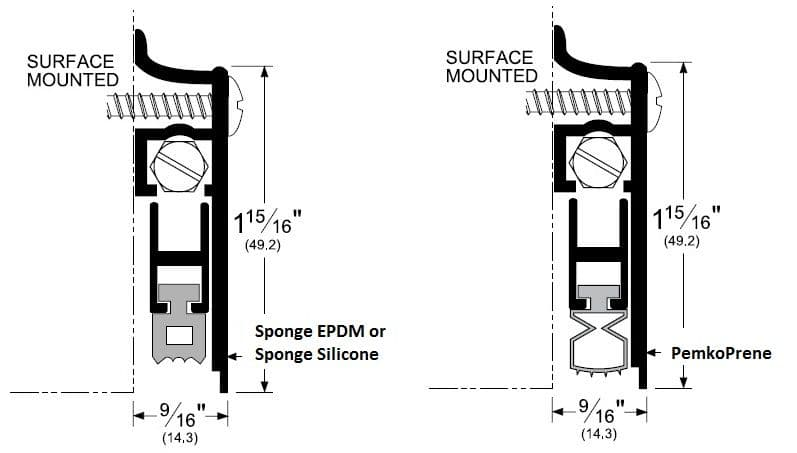 Product specs for pemko surface mounted automatic door bottom #412