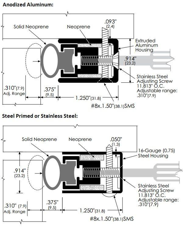 Product Specs for Heavy Duty Adjustable Door Gasket