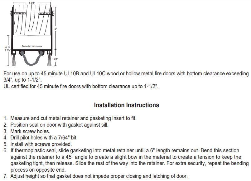 Installation guide for NPG N9250NWH Door Shoe Sweep for Fire Doors