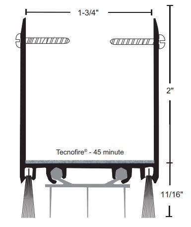 product specs of NGP 9250TWH door shoe sweep for fire doors with excessive undercut