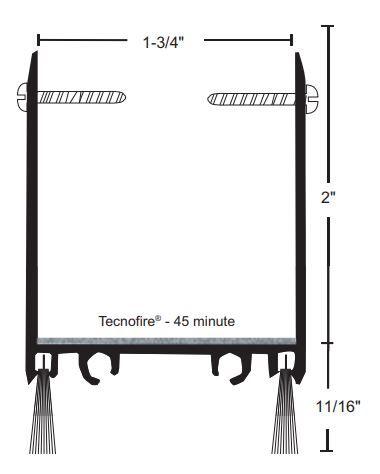 product specs of NGP 9250WH door shoe sweep for fire doors with excessive undercut