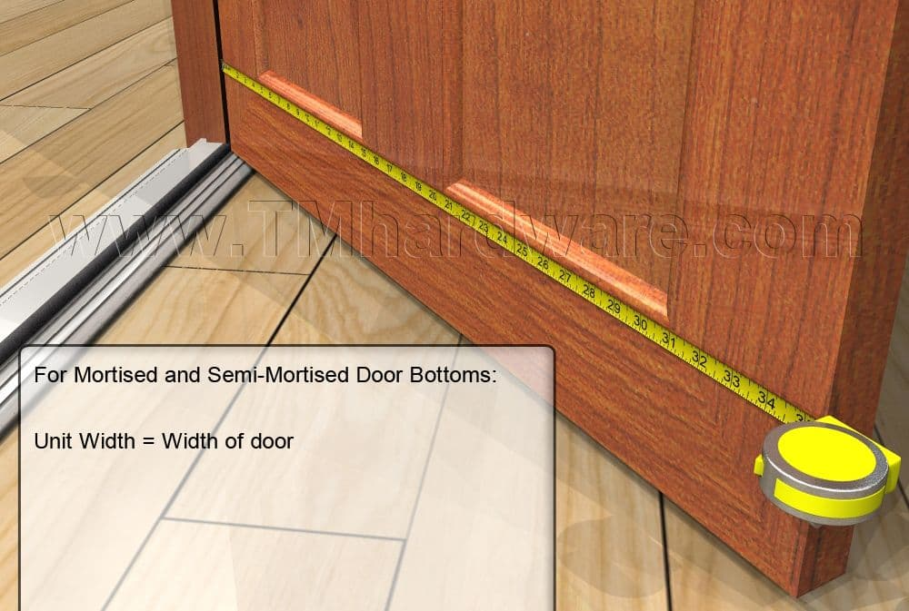 Measure the door from side to side; that is the same size you need for your automatic door bottom. & How To Measure Your Door For An Automatic Door Bottom. Trademark ...