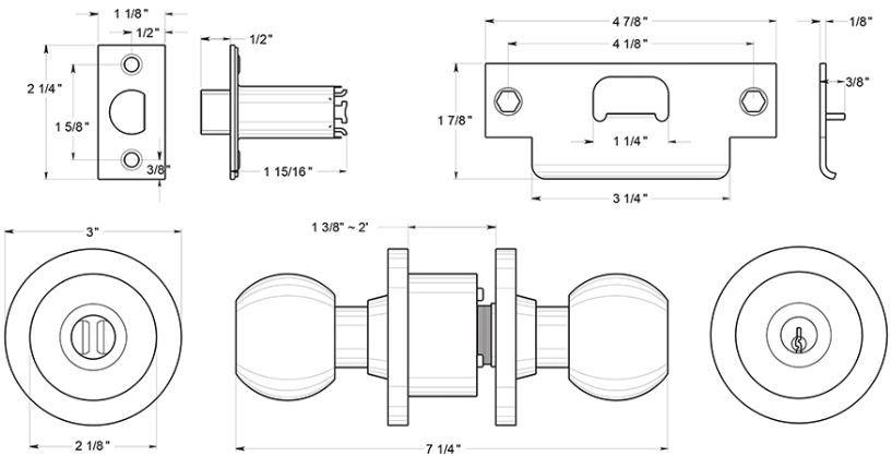 Deltana CL100EAC Round Door Knob Dimensions
