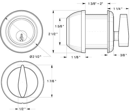 Deltana CL200LM Single Cylinder Deadbolt Dimensions