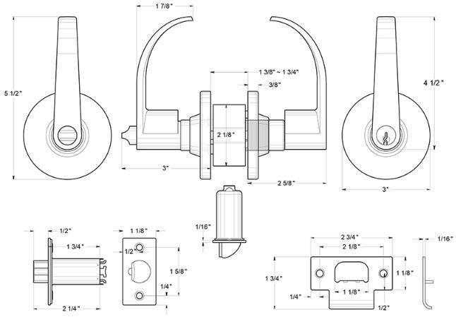 Deltana CL400EL Curved Door Lever Product Specs