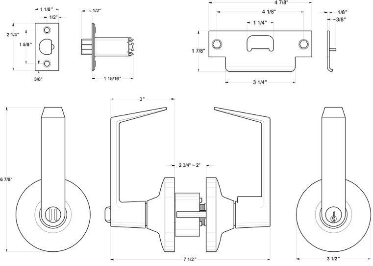 Deltana CL500FLC Clarendon Door Lever Dimensions