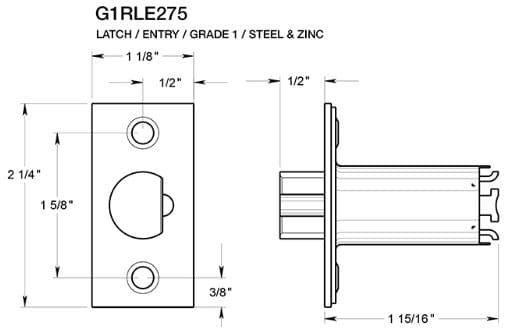 Deltana G1RLE275 Entry Door Latch Dimensions