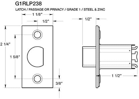 Deltana G1RLP238 Passage Door Latch Dimensions