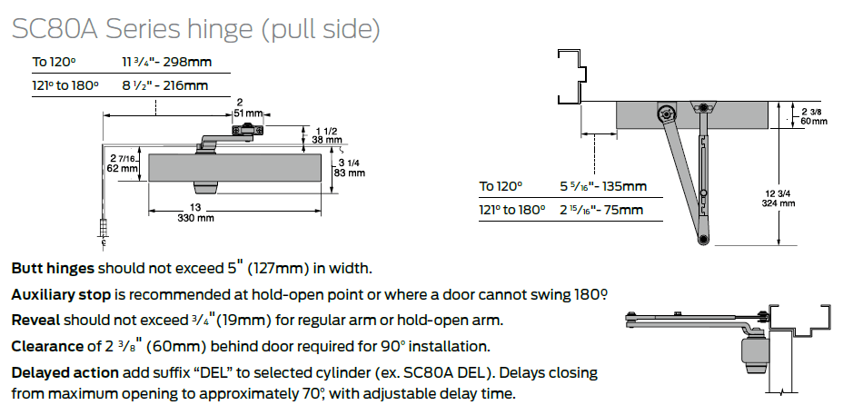 Aluminum Falcon Door Closer SC81 Spring Stop//Hold Open