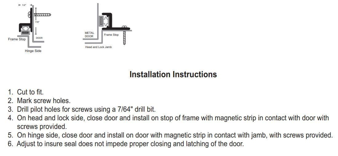 Installation Guide for Door Gasket with Magnetic Seal - NGP 159