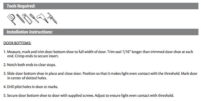 Installation instructions for Pemko Aluminum L Shaped Door Sweep with Neoprene Bulb Seal