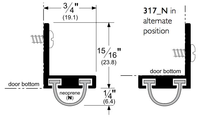 """Pemko Aluminum Door Sweep with Neoprene .25"""" Bulb Seal"""