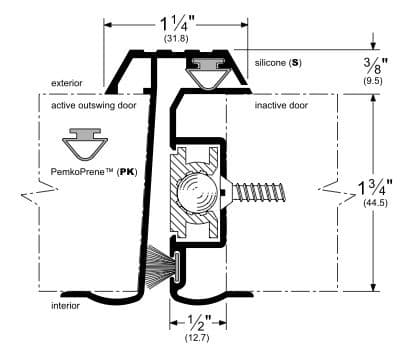 Dimensions for a Locking Aluminum Meeting Stile with Double Seals for 1.75\u201d Thick Outswing Doors  sc 1 st  Trademark Hardware & Locking Aluminum Meeting Stile with Double Seal for Outswing 1.75 ...