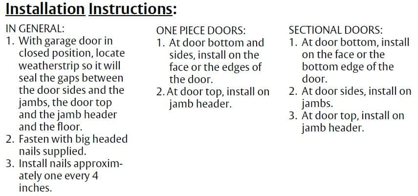 Installation Guide for Vinyl Flange Door Bottom Sweep for Garage Doors by Pemko