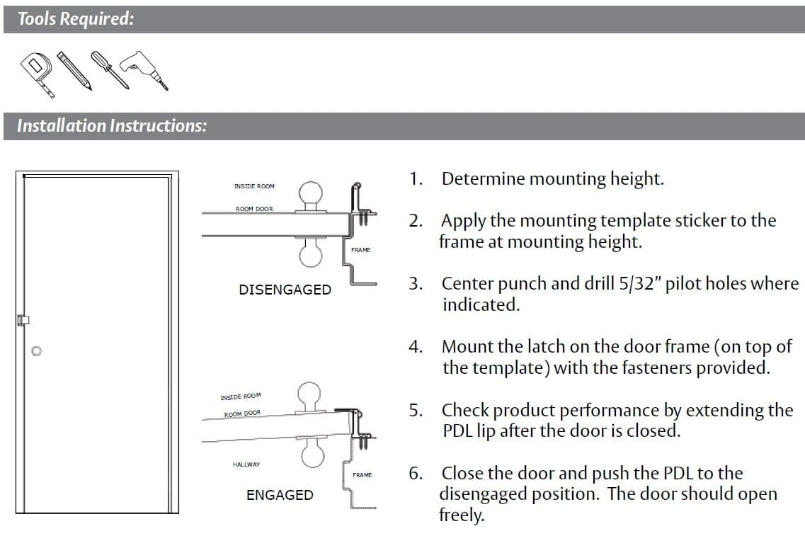 Installation Guide For Privacy Door Latch By Pemko   PDL
