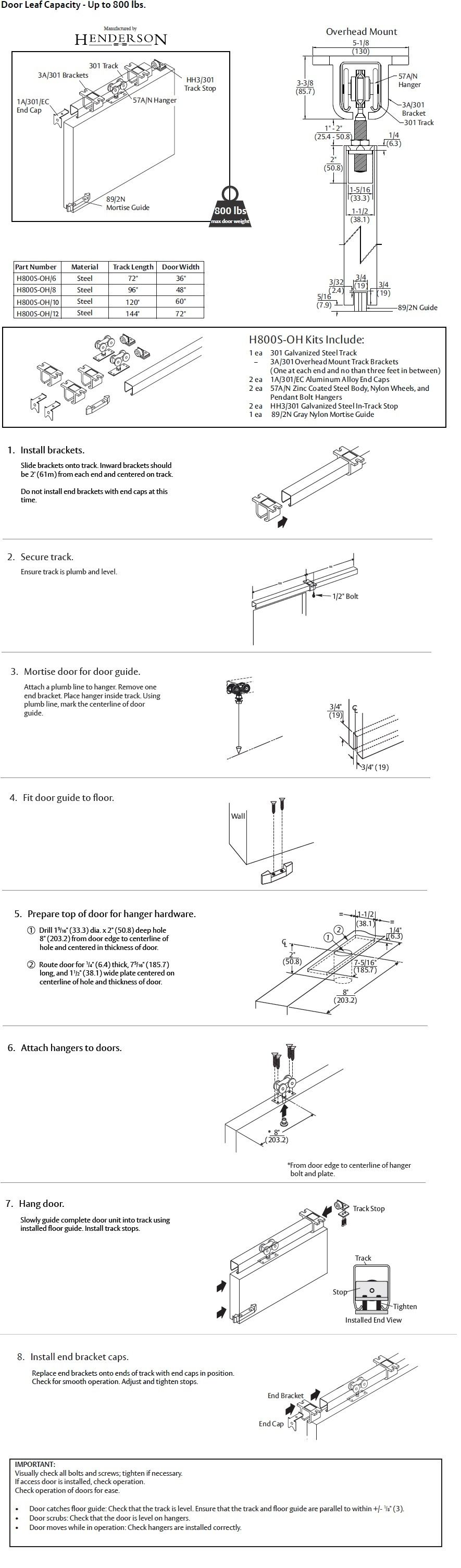 PH800S Sliding Door Hardware Installation  sc 1 st  Trademark Hardware & PC Henderson H800S Heavy Duty Steel Sliding Door 800 Lbs ...