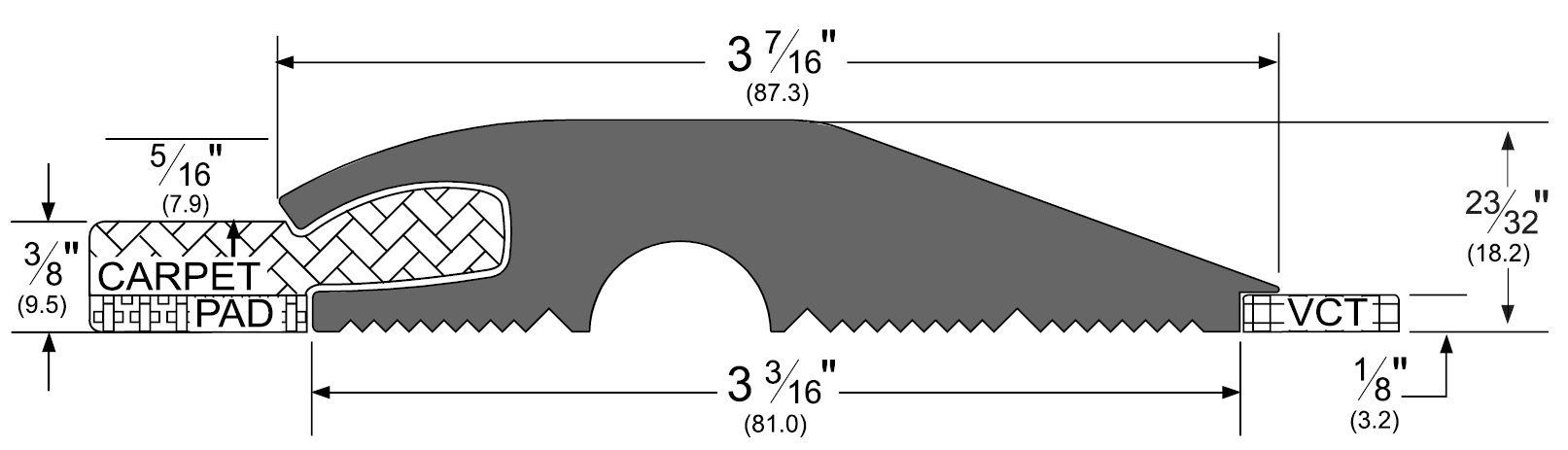 Pemko Vinyl Threshold Carpet To Tile Trademark Hardware Com