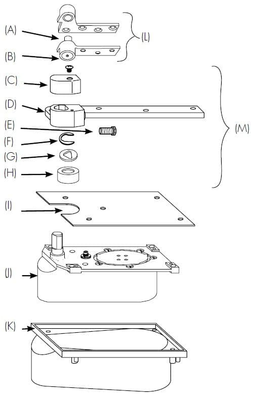 """Parts included in Rixson 20 Complete Package for 3/4"""" Offset Floor Door Closers"""