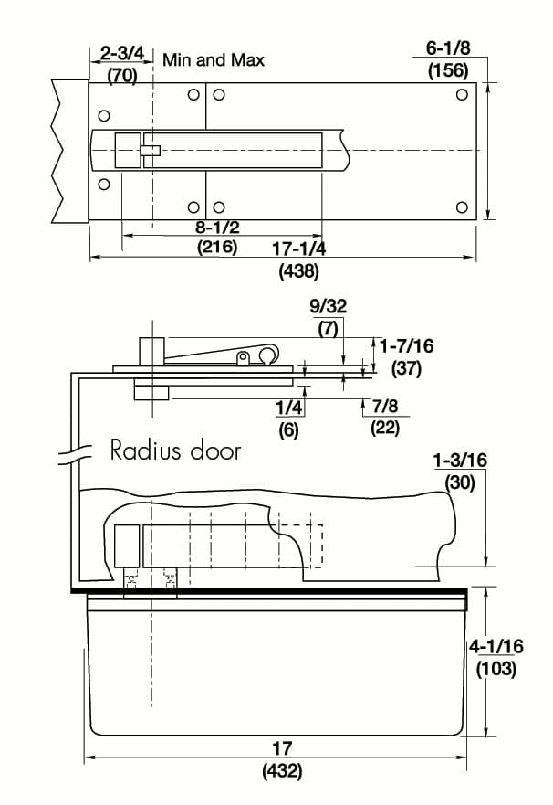 Template For Heavy Duty Center Hung Rixson Floor Closer