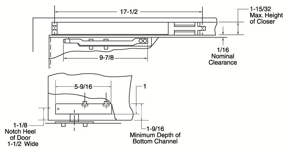 Rixson 700 Series Center Hung Concealed Door Closer Single Acting