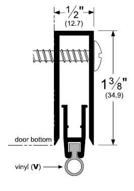 Automatic Door Bottom Residential Surface Mounted Casing With Vinyl Bulb Seal 5 Drop