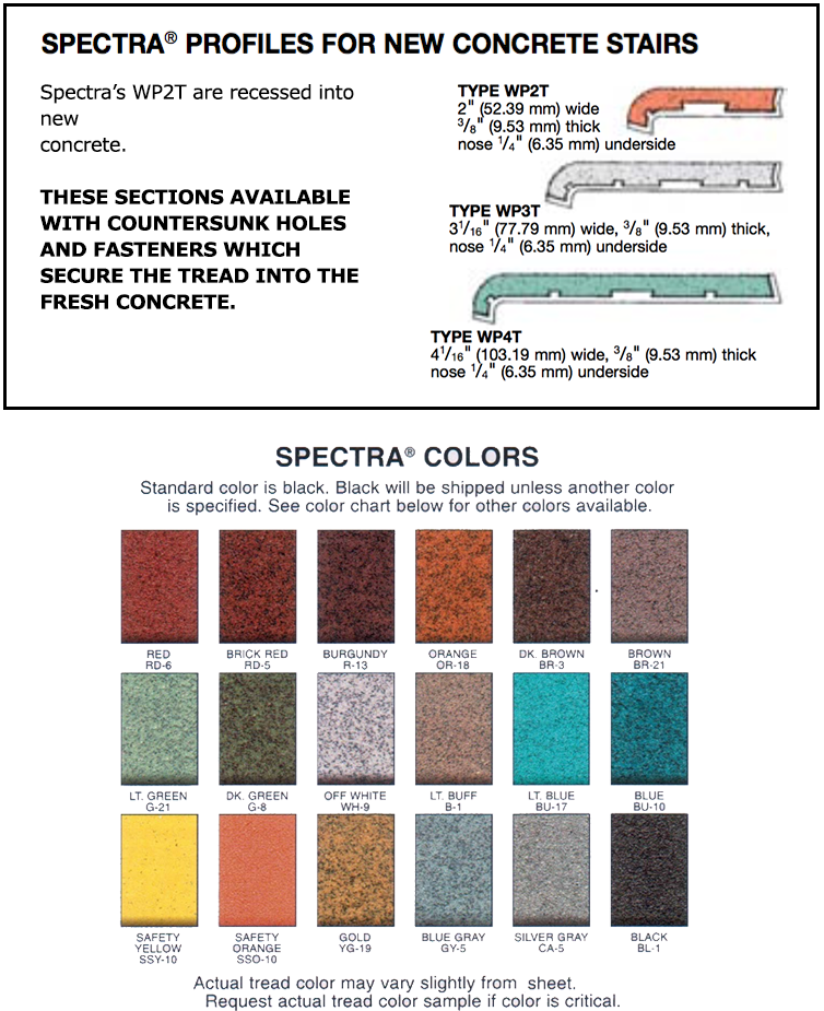 Measurements And Color Options For Wooster Spectra WP2T, WP3T,WP4T Stair  Nosing For New