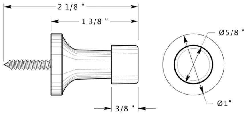 "Deltana 1-3/8"" projection baseboard door bumper"
