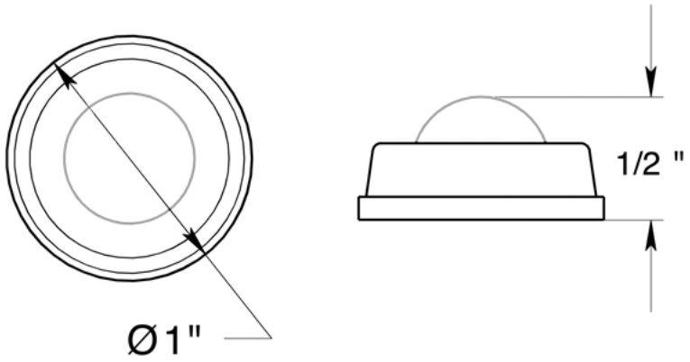"Deltana 1"" diameter flush mount bumper"