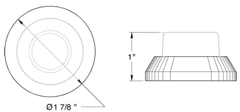"Deltana 1-7/8"" diameter flush mount bumper"