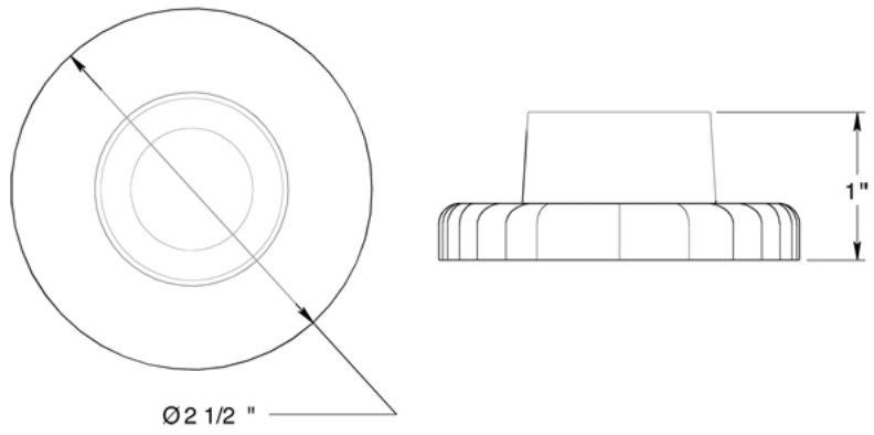 "Deltana 2-1/2"" diameter wall mount bumper"