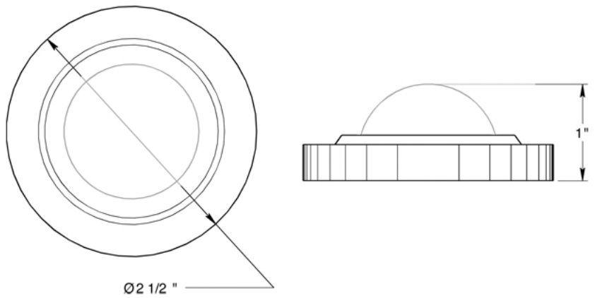 """Deltana 2-3/8"""" diameter flush mount convex bumper"""