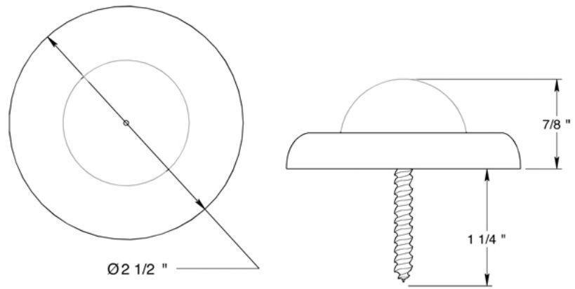 """Deltana 2-1/2"""" diameter wall mount convex bumper"""