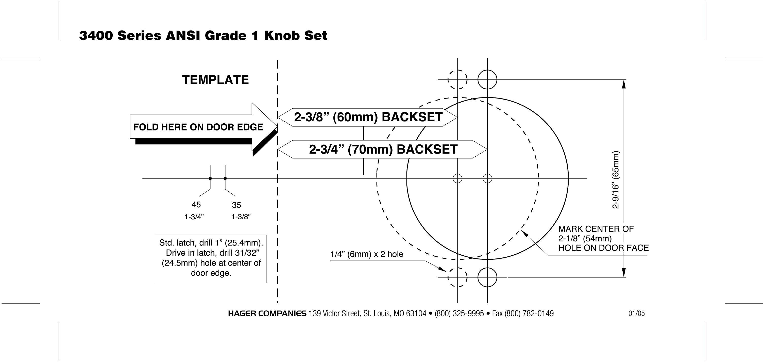 hager 3400 series knob lock template