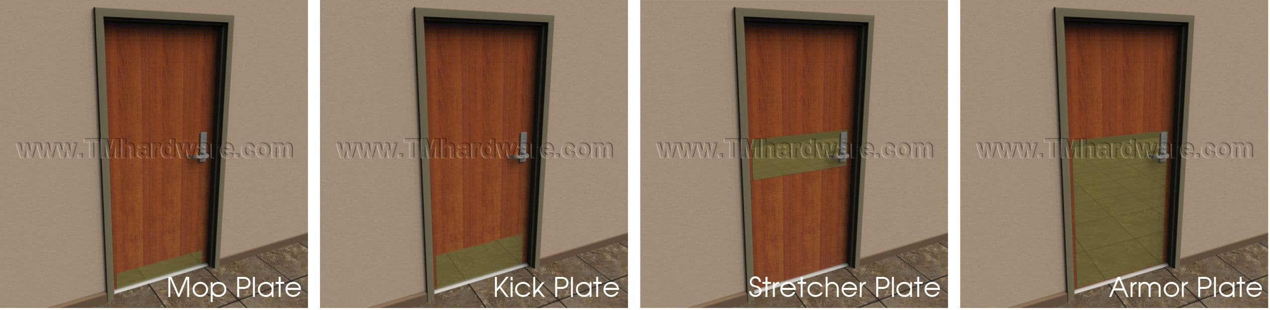 Armor Plate 13\ -48\ H x Up to 48\ W & Rockwood K3125 Laminate Plastic Door Plate .125\