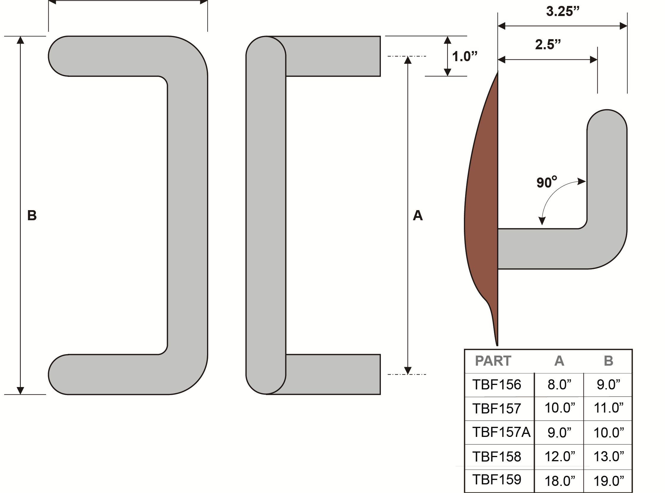 Rockwood TBF156 Tubular Door Pull Bar With 90° Offset, ADA Openings ...