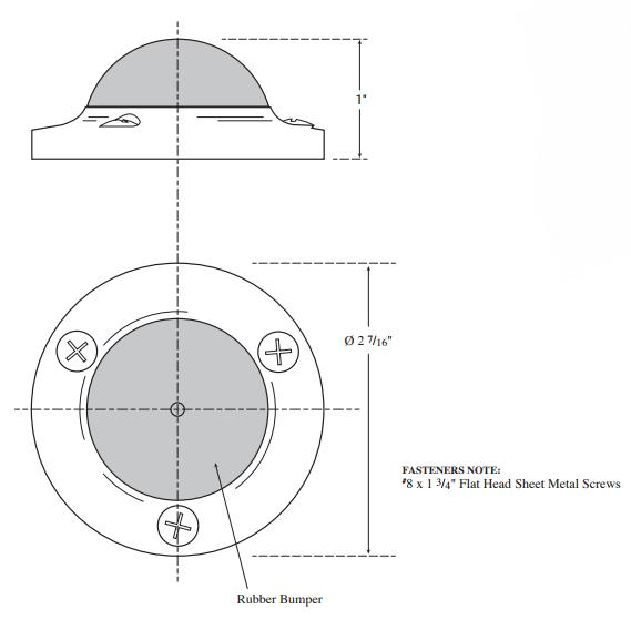 Rockwood R412 Convex Solid Cast Wall Stop Product Specs